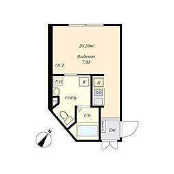 cova HATAGAYA 3階ワンルームの間取り