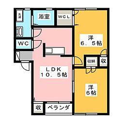 シャトレ カタヤマ B棟[2階]の間取り