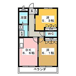 三重県松阪市曽原町の賃貸マンションの間取り