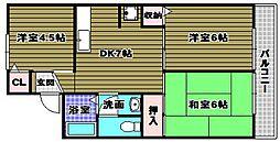 グランジュル北野田[202号室]の間取り
