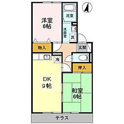 シャトーKANAHO[102号室]の間取り
