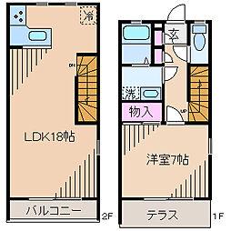 [テラスハウス] 神奈川県川崎市中原区上小田中6丁目 の賃貸【/】の間取り
