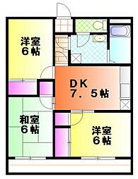 神奈川県平塚市大神の賃貸マンションの間取り
