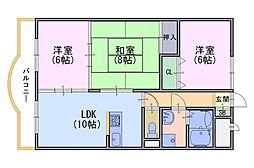 アネーロ長岡京[3階]の間取り