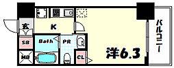 エステムプラザ神戸三宮ルクシア 7階1Kの間取り