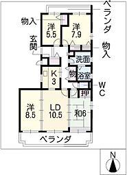 三渓ヒルズ B棟[1階]の間取り