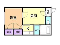 シャネル栄町壱番館 1階1LDKの間取り