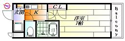 大阪府箕面市粟生間谷西7丁目の賃貸マンションの間取り
