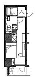 DUO FLATS 芝公園 4階ワンルームの間取り