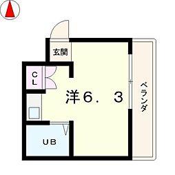滋賀県大津市中央1丁目の賃貸マンションの間取り