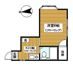 神奈川県横浜市神奈川区六角橋5丁目の賃貸アパートの間取り