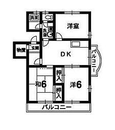 四宮ハイツ[301号室]の間取り