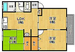 兵庫県宝塚市口谷西2丁目の賃貸アパートの間取り