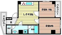兵庫県神戸市灘区永手町1丁目の賃貸マンションの間取り