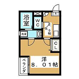 クレフラスト東仙台A[1階]の間取り