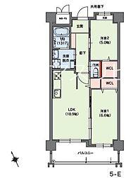 福岡市地下鉄七隈線 桜坂駅 バス5分 小笹団地正門前下車 徒歩3分の賃貸マンション 5階2LDKの間取り