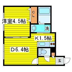 北海道札幌市東区北十七条東18丁目の賃貸アパートの間取り