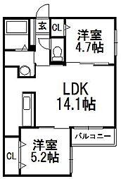 Principal南郷 2階2LDKの間取り