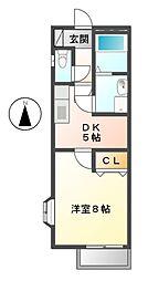 愛知県名古屋市港区本宮町8丁目の賃貸アパートの間取り