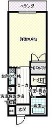 JR呉線 新広駅 徒歩10分の賃貸マンション 2階1Kの間取り