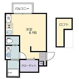 あんしん日置荘西町08-2012 1階1Kの間取り
