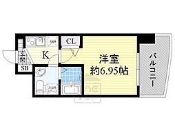 セレニテ江坂ルフレ 7階1Kの間取り