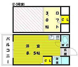 エトワール松崎[2階]の間取り