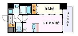 プレサンスSAKAEフロント 6階1LDKの間取り