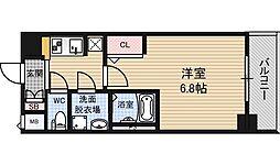 ジアコスモ江戸堀パークフロント 5階1Kの間取り
