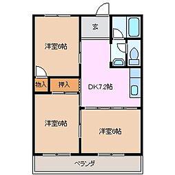 三重県四日市市別名4丁目の賃貸マンションの間取り