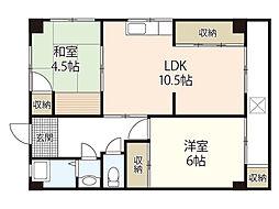 広島電鉄6系統 江波駅 徒歩11分の賃貸マンション 3階2LDKの間取り