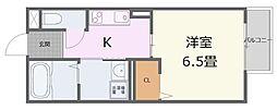 リトリート飾磨 2階1Kの間取り