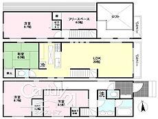 4LDK(1F:46.31平米、2F:47.97平米、3F:30.18平米)