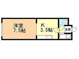ITマンションかがやき 3階1Kの間取り