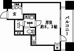 ルネ新宿御苑タワー 9階ワンルームの間取り