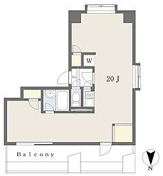 宝寿ビル 8階ワンルームの間取り
