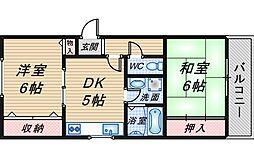 大阪府豊中市東泉丘2の賃貸マンションの間取り