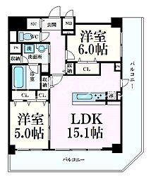 シェリール六甲道 9階2LDKの間取り