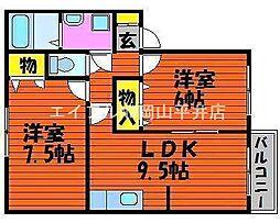 岡山県備前市伊部丁目なしの賃貸アパートの間取り