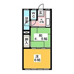 コーポ大富[2階]の間取り