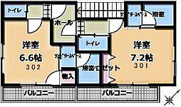 スズキマンション 3階ワンルームの間取り