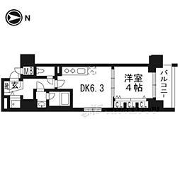 JR山陰本線 梅小路京都西駅 徒歩9分の賃貸マンション 3階1DKの間取り
