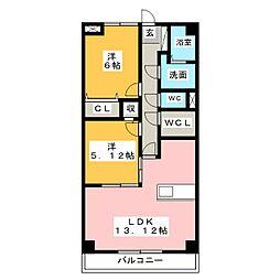 静岡県静岡市葵区瀬名6丁目の賃貸マンションの間取り