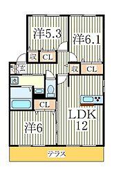 カームベリーB[2階]の間取り