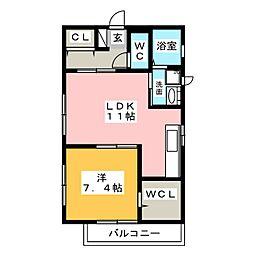 デュースHINA[1階]の間取り