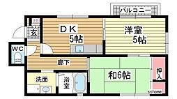 兵庫県神戸市灘区上河原通1丁目の賃貸マンションの間取り
