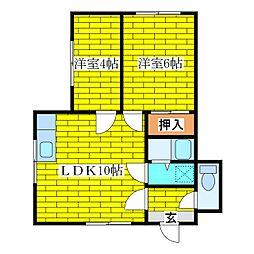 関マンション[2階]の間取り