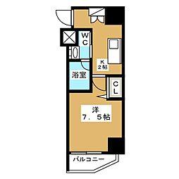 ニューガイア リルーム芝NO.28 5階1Kの間取り