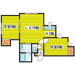 北海道札幌市東区本町二条1丁目の賃貸アパートの間取り