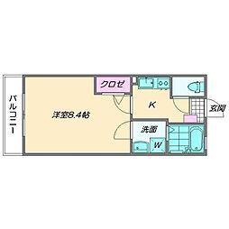 クレフラスト小戸B[2階]の間取り